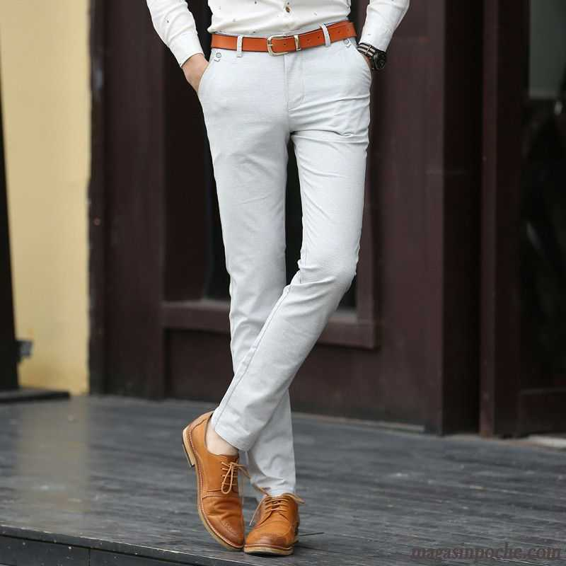 Pantalon Homme Lin Été Extensible Pantalon Homme Slim Tous Les Assortis  Pantalons Décontractés Respirant Aérée Rose Choquant 05cad31b48ba