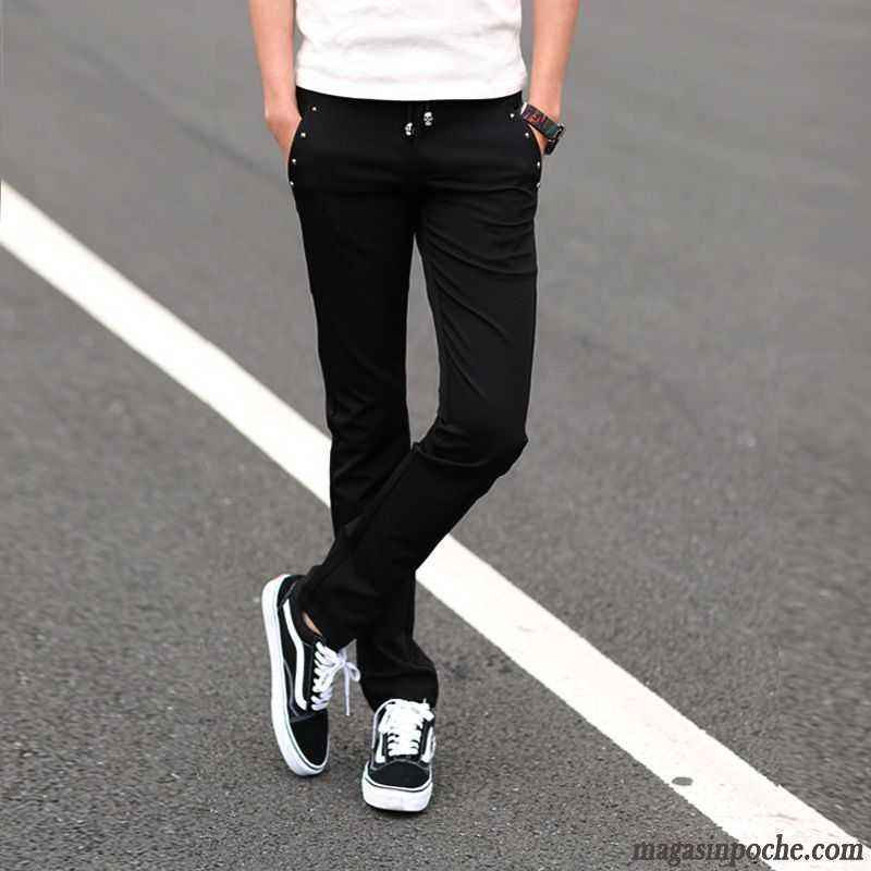 mieux aimé 83ccc f2a37 Pantalon Léger Homme Été Automne Maigre Coton Bio Noir Pantalon Homme  Extensible Rose Choquant