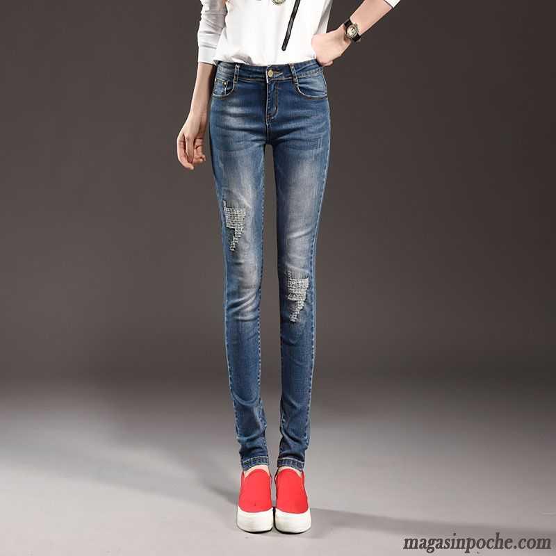 Pantalon Noir Huilé Femme Elastique Jeans Pantalons Crayon ...