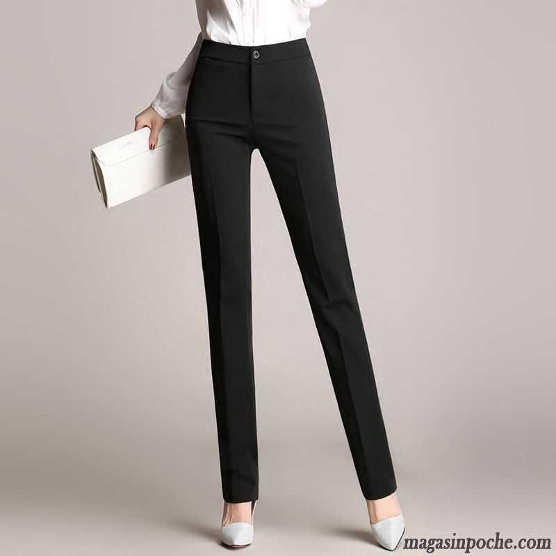 fd38ee6c946 Pantalon Pour Femme Femme Pantalon Jambe Droite Pantalons Décontractés  Professionnel Longue Noir Mince L automne Seashell