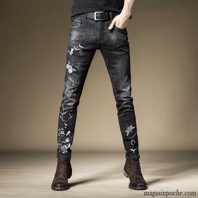 14260b14cd Pantalon Taille Haute Homme Pas Cher Style Chinois Jeans Slim Littérature  Art Noir Broder Pantalon Classiques ...