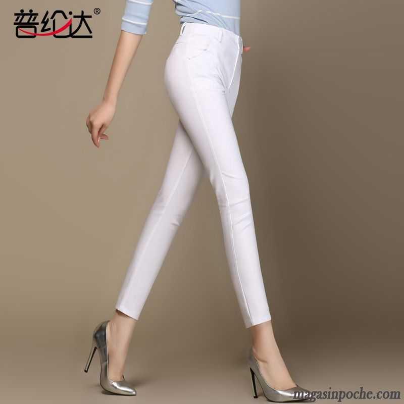 8c8dcdac061b Pantalon Taille Haute Slim Femme Pantalons Crayon Légère L automne  Printemps Maigre Mince Femme Blanc Slim ...
