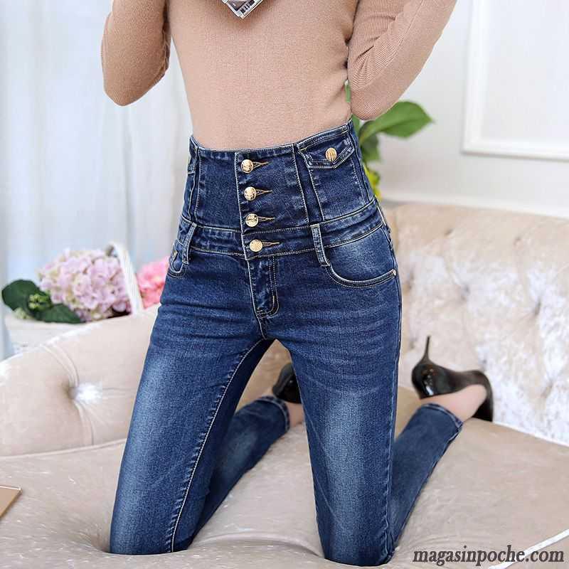 pantalon taille tr s haute extensible forme haute cintr e femme pantalons crayon serrer bleu. Black Bedroom Furniture Sets. Home Design Ideas