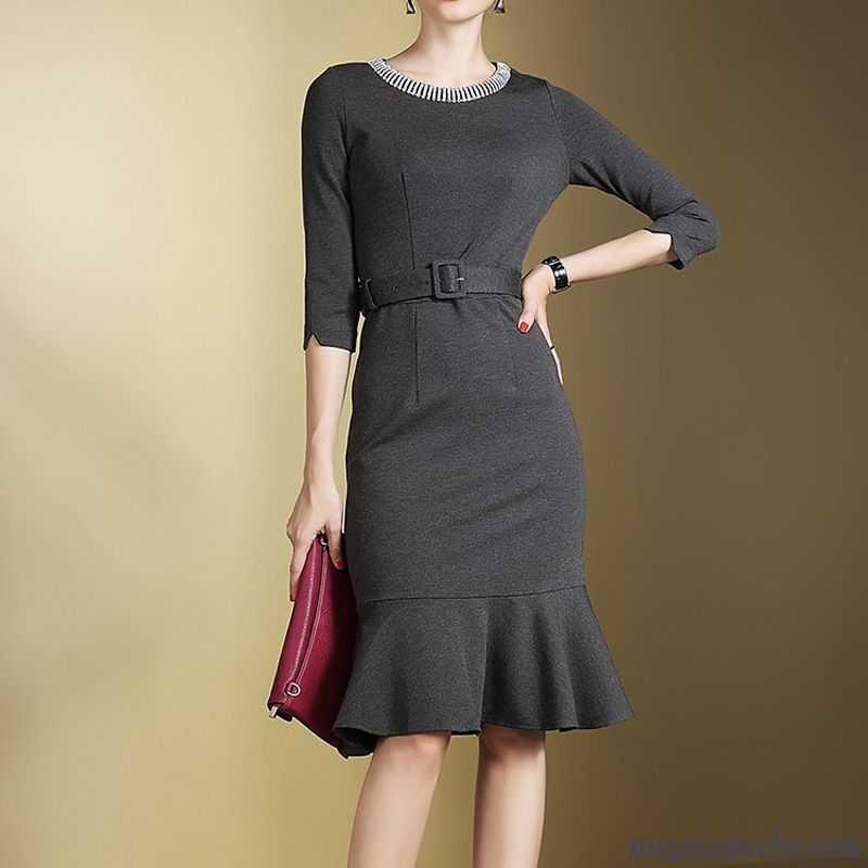 13600542848 Robe De Soirée Chic Mode Robe Feuille De Lotus Épissure Femme Mince Slim  Pure Automne Queue ...