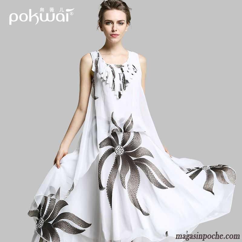 Robe mousseline noire et blanche