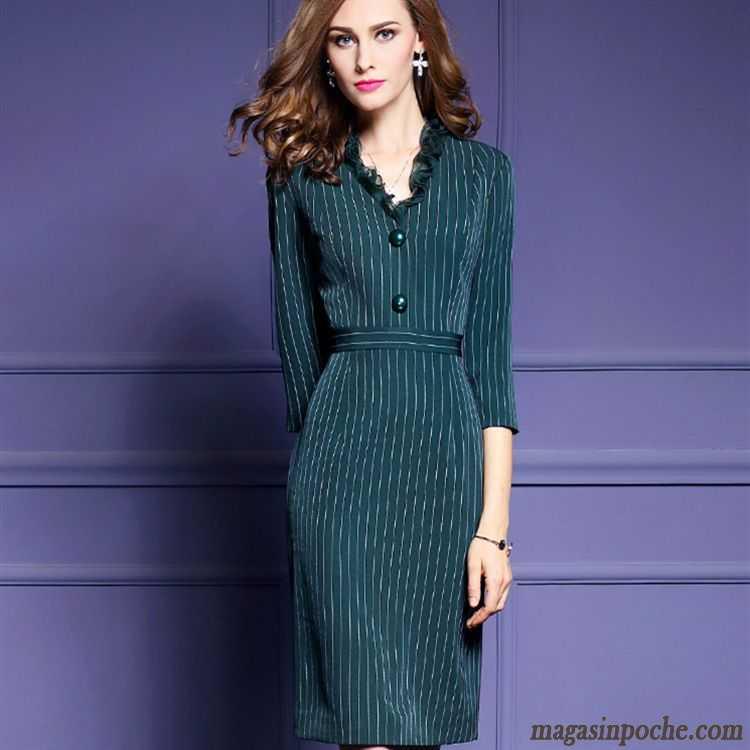 79e3958bf1f Robe Femme Ronde Mince Rayé Slim Longue Robe L automne Col En V Feuille De