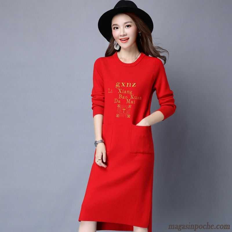 75169560d48 Robe Femme Rouge Robe Pull Automne Jupe Longue Femme En Maille Décontractée Manches  Longues Blanc