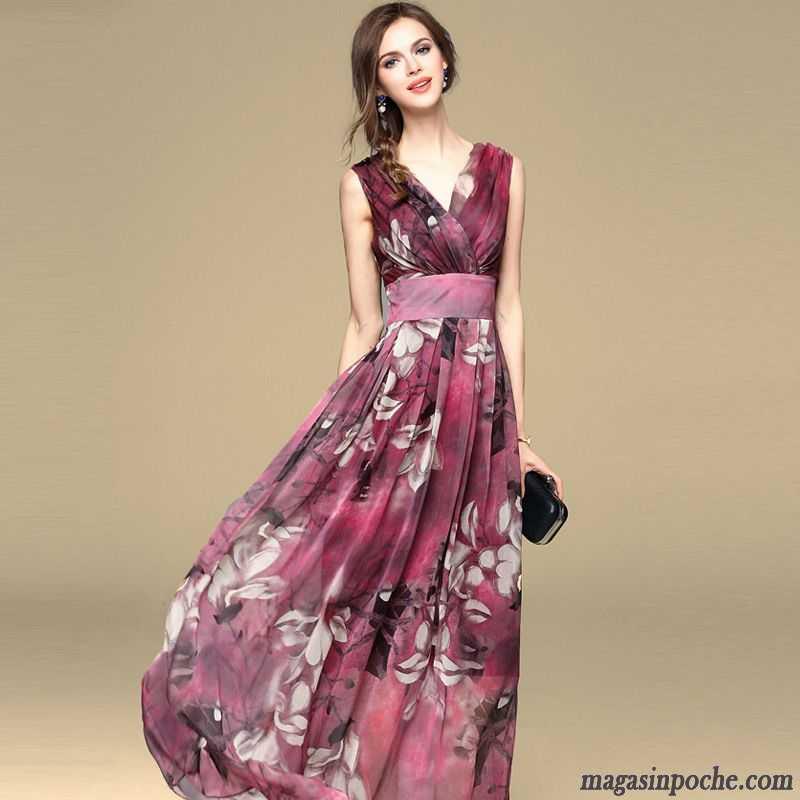 robe imprim e hiver mince mousseline de soie temp rament printemps t robe femme jupe longue. Black Bedroom Furniture Sets. Home Design Ideas