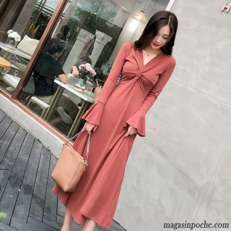 3753f0a60ff Robe Maille Femme Femme L automne Rétro Beaucoup En Maille Printemps Rouge  Jupe Longue Robe