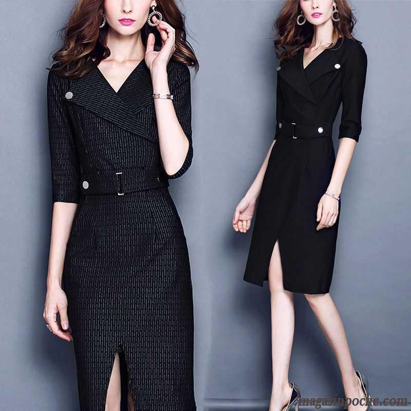 843ab915cff Robe Noire Longue Mince Tempérament Femme Bien L automne Et L hiver L