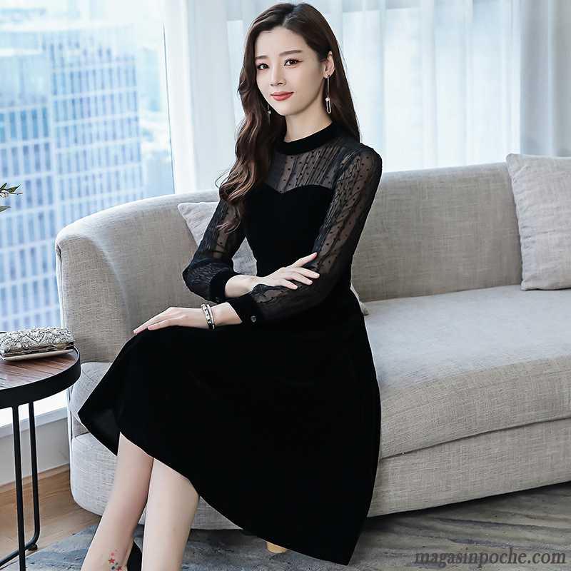 9b00e3e0d85 Robe Originale Femme Tempérament Longue Robe Mince Épissure L automne Noir  Printemps Slim Femme Vin