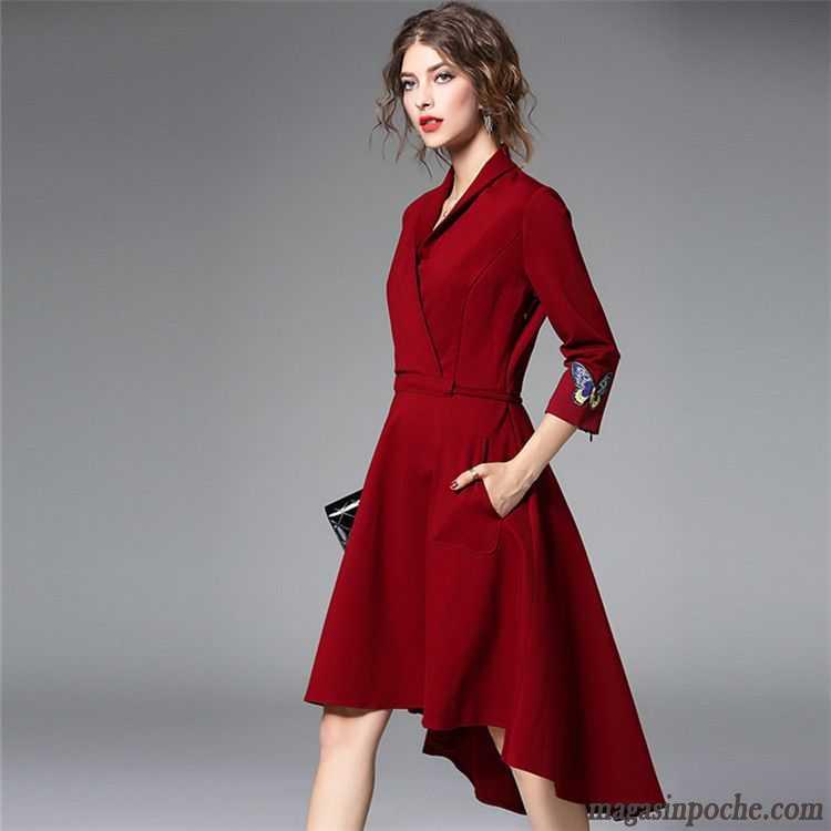 df7737c37c4 Robe Pour Tous Les Jours Femme L automne Forme Haute Cintrée Irrégulier  Gros Robe Tempérament