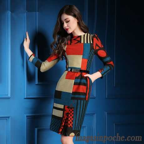 acee1e70da5 Robe Rouge Femme Tempérament Grande Marque Impression Mode L automne Et  L hiver Robe