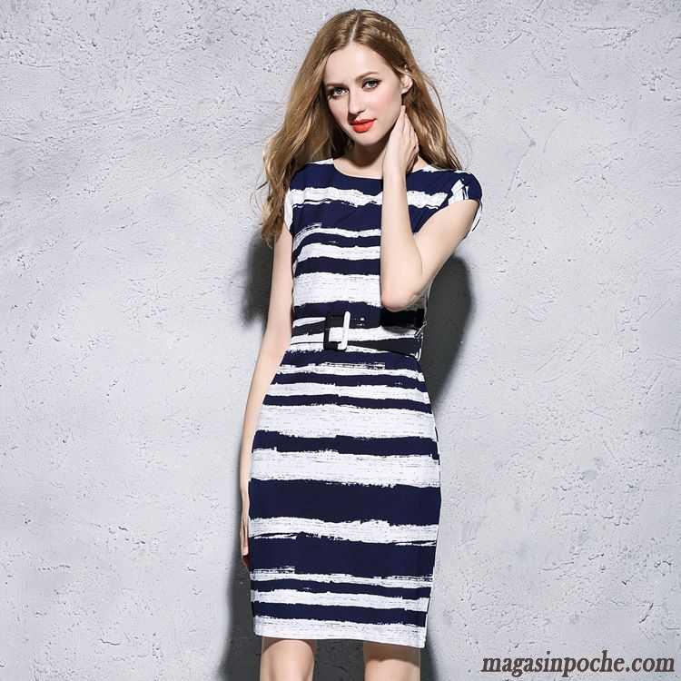 Robe Soirée Chic Blanc Style Chaud Original Conception Conçu Femme Slim Robe  Manche Courte Gris