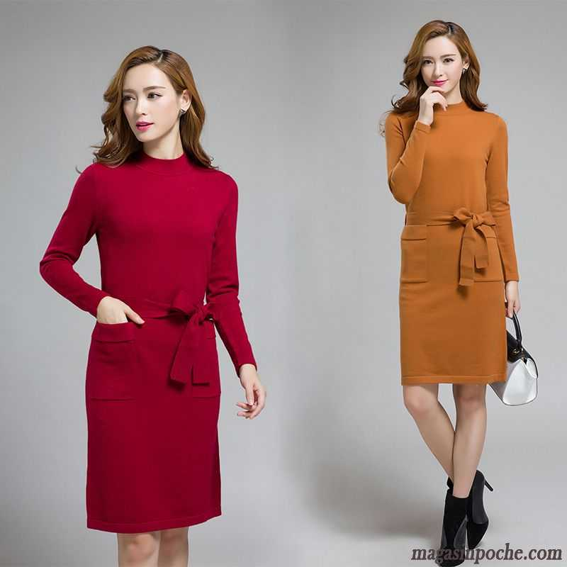 c409a10035d2 Robe Verte Femme Col Rond Femme Arc Pull En Maille Robe L automne Et L hiver  ...