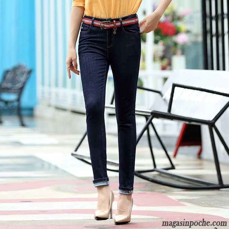 Soldes Jeans Femme Ourlet Automne Extensible Pantalon Jeans Pantalons  Crayon Slim Femme Maigre Blanc Pas Cher bf25fa624bd