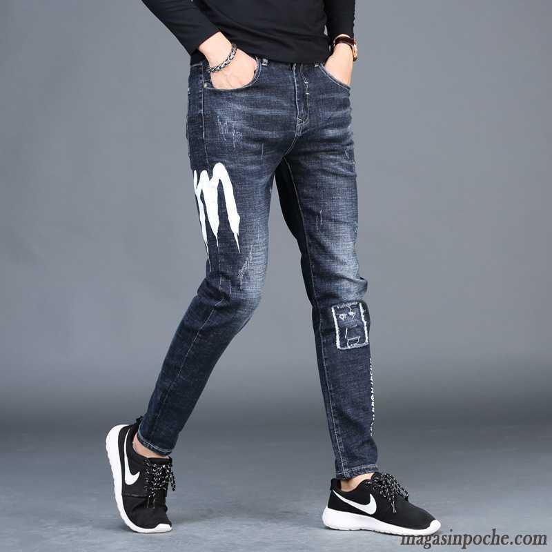 fe7b399634ebe Soldes Jeans Homme Des Trous Dans Les Jeans Bleu Homme Noir Pantalons  Décontractés Automne Slim Tendance ...