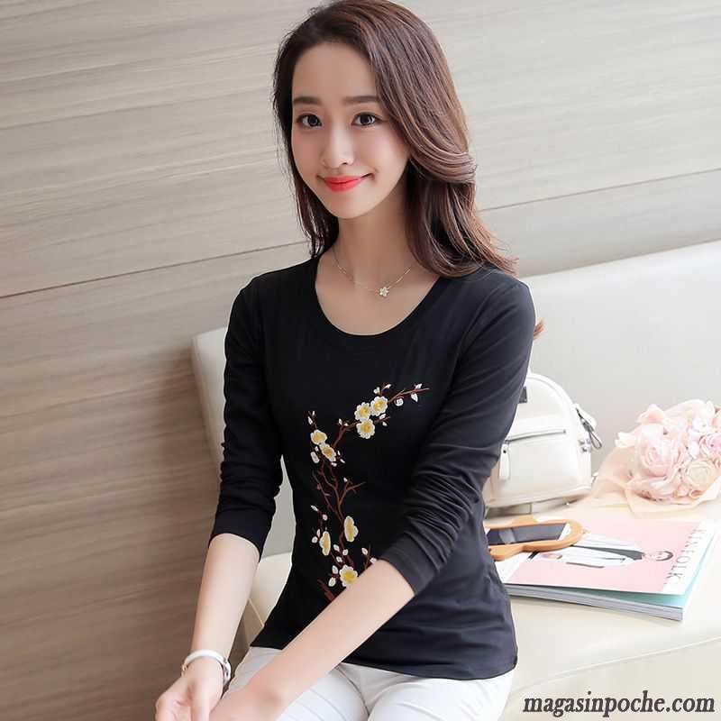 5251e7588c0 T Shirt Chic Femme Étudiant Chemise En Bas Tous Les Assortis Baggy Une  Veste Prune Broder ...