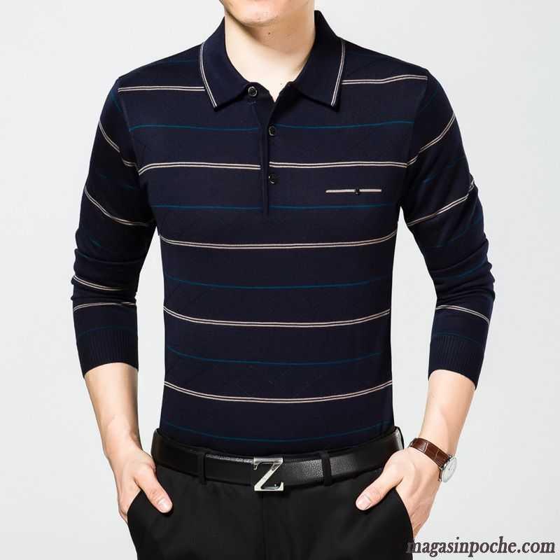 En Revers Manches Roulé Chemise Tricots Longues T Shirt Bas Col Ambre Homme Maille Large Automne m8wnN0