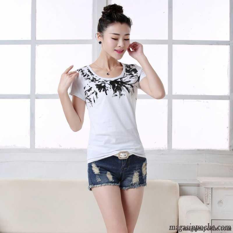 T Shirt Top Femme Slim Col Rond Mince Printemps Dame Manche Courte  Impression Chemise En Bas Argent Pas Cher 64fee1ecf871