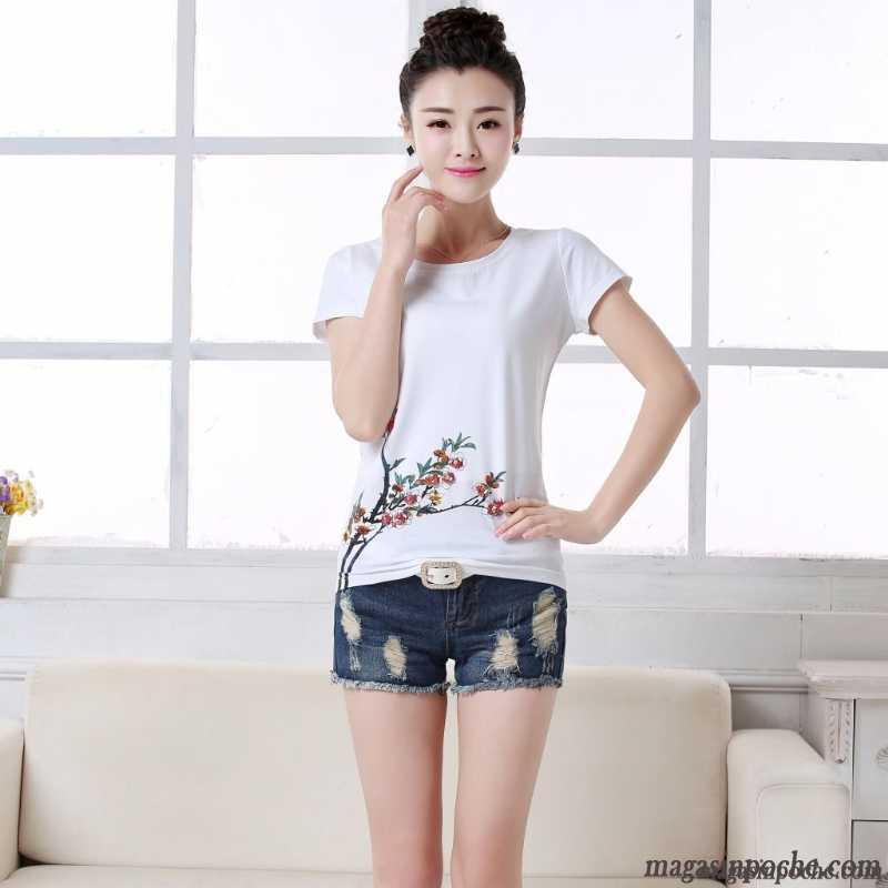 Une Demi Coton Slim Femme Veste Manche Shirt Été Tee Blanc wFa7vX