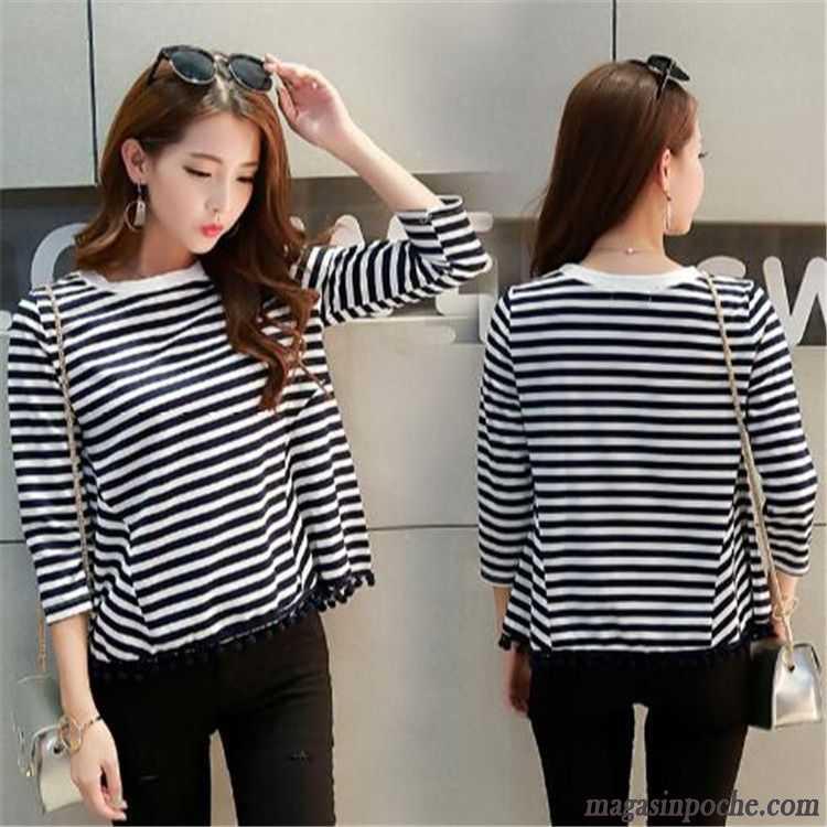 Tee Shirt Noir Manche Longue Femme Mode Tendance Automne Pompon Frange Col  Rond Femme Baggy Simple ... 0cb735a2b799