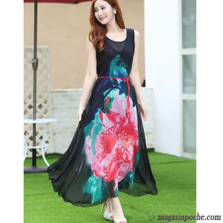 d81bbe415eb Tenue Nouvel An Femme Été Élégant Jupe Longue Robe Gros Soie Impression  Ivoire
