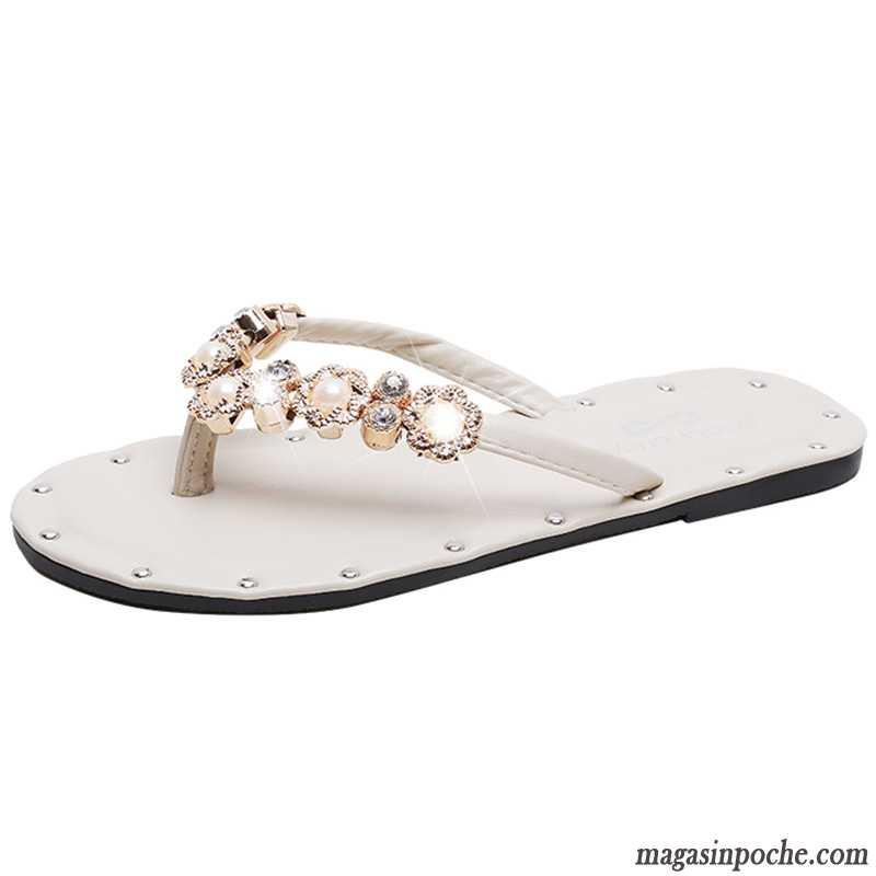 détaillant en ligne 43538 89f6a Tongs Femme Plates Mode Été Chaussons Tous Les Assortis Fille Blanc Rouge