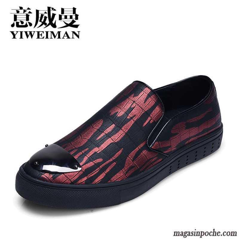 Vente Casual Paresseux Chaussure Homme Cuir Angleterre Tendance Mauve En Chaussures Imprimé L'automne Yby7f6g
