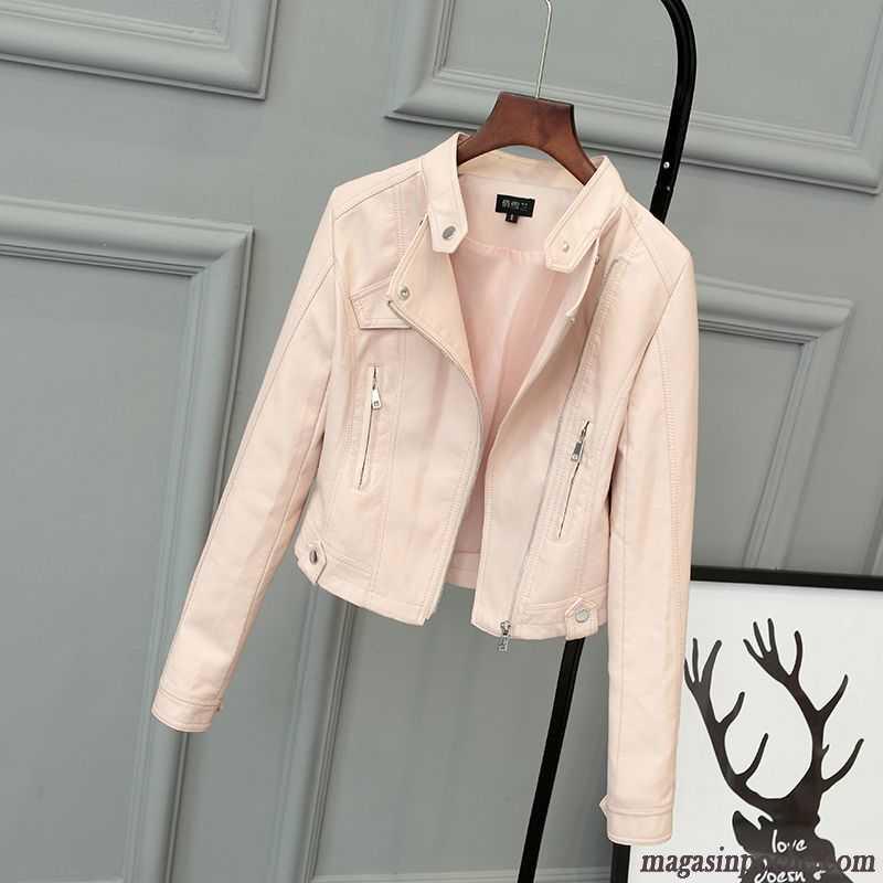 Veste cuir courte blanche