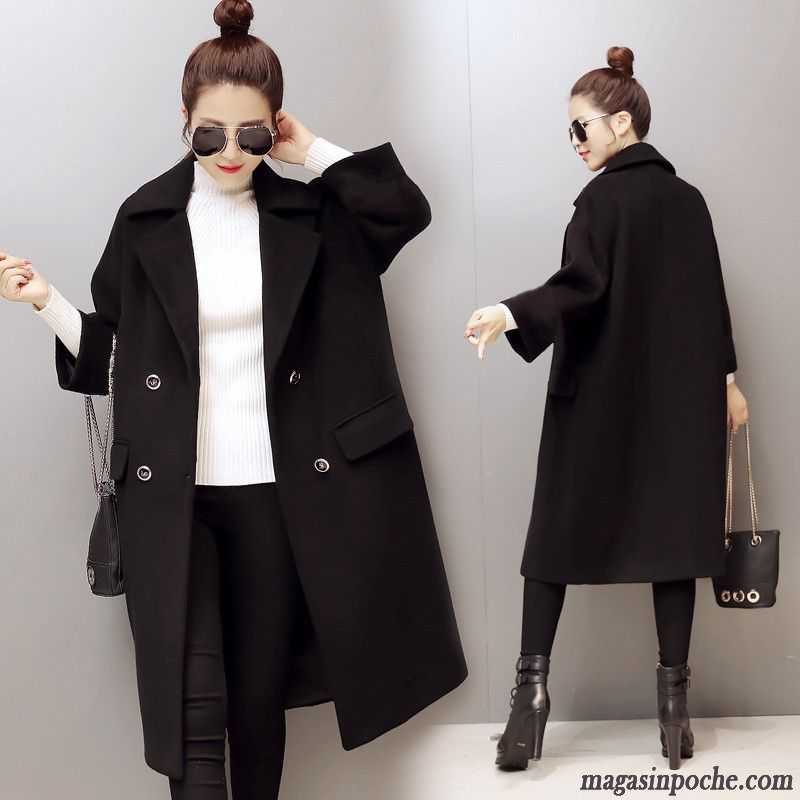 30cf5961ba8a3 Veste De Laine Femme Hiver Mince Trier Les Boutons Manteaux Longue Slim Noir