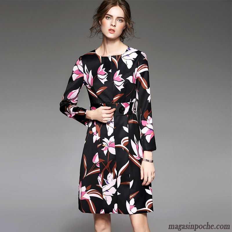 421f4de3a37 Veste Femme Noire Cintrée Pardessus Automne Mince Slim Impression Mode  Coupe Vent Manches Longues Robe Bronzage