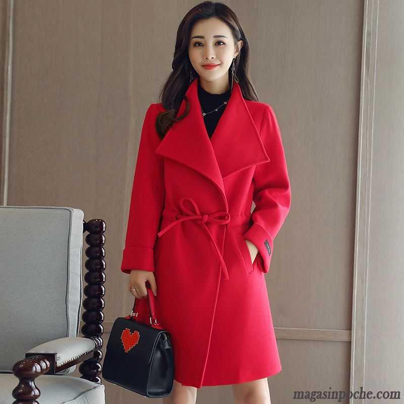 veste femme slim longue hiver tendance manteau de laine rouge. Black Bedroom Furniture Sets. Home Design Ideas